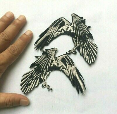 2 pcs. Crow raven Bird Flying dark Night Wing Embroidered-Iron-On-Sew-On-Patches