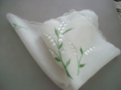 Vintage Handkerchief White Linen with Embroidered Lilly of the Valley Flowers