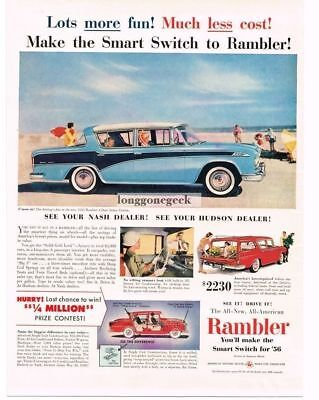 1956 Rambler Custom 2-tone Blue Sedan at Beach Vtg Print Ad