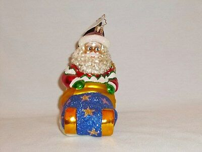 Christopher Radko Alpine Sleigh Away Santa Christmas Ornament New  2007