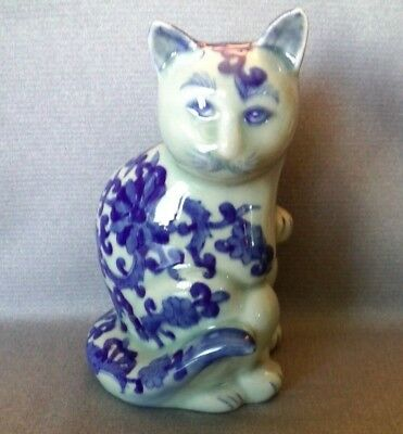 "VTG Large Chinese Porcelain Cat Decor; 8""tall, Blue & White, Hand painted Signed"