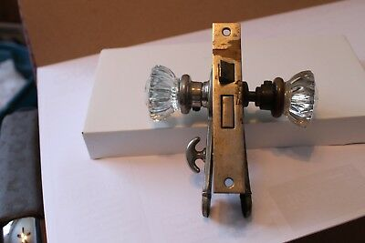 Antique Vintage Arts and Crafts Door Lockset Set Glass Knob Brass Plate Lock