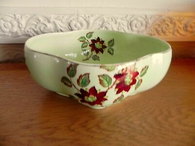 "Vintage Maling Green ""Brocade"" Lobe Shaped Bowl Pattern 6586"