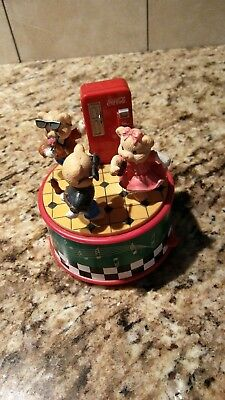 Collectible Coca Cola Sock Hop Pop Shoppe Mini Action Music Box Figurine