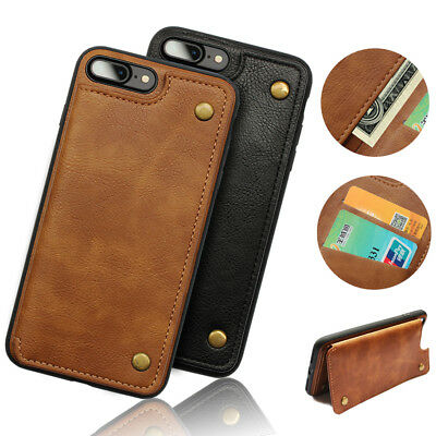 Leather Phone Wallet Case With Credit Card ID For IPhone X Cover Case iPhone 7