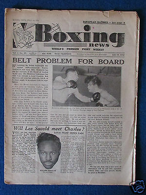 Boxing News - 19/7/1950 - Tommy McGovern, Billy Thompson,Ezzard Charles on cover