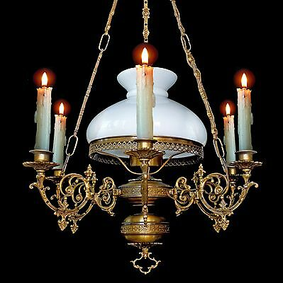 Antique French 7 Light Victorian Lamp/Opaline Glass Shade Chandelier / 6 Candles
