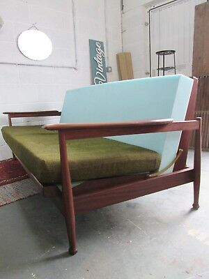 Vintage Mid Century Retro Guy Rogers Manhattan Teak Sofa Bed Daybed Danish Style