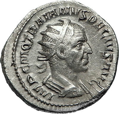 TRAJAN DECIUS 249AD Rome Silver Authentic Ancient Roman Coin VICTORY i67050