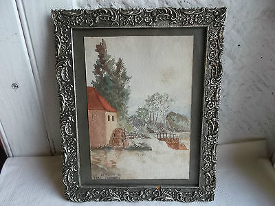 French gorgeous painting water color signed C.1933 water mill scene framed