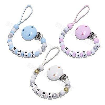Dummy Chain Classic Blue, Pink & White Personalised  **With Any Name** 3 Colours