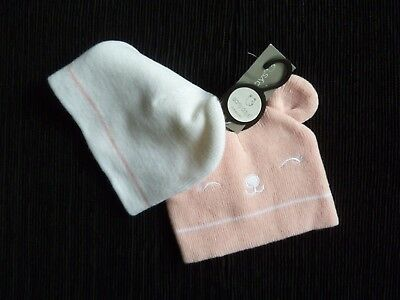 Baby clothes GIRL 3-6m NEW! 2 pull-on soft warm hats pink/face/ears& white/pink