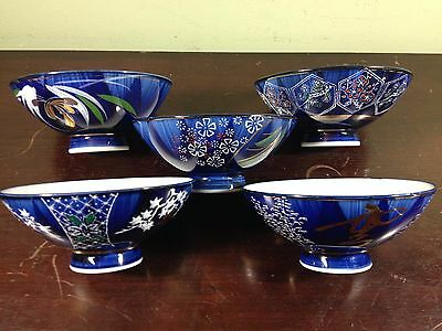 Cobalt Blue, White and Gold Trim Chinese Rice Bowls--Set of 5