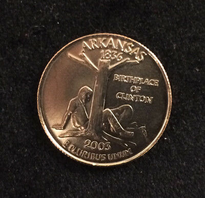 "Arkansas 2003 Parody Quarter ""Birthplace Of Clinton"" no Cigar *FUNNY* *RARE*"