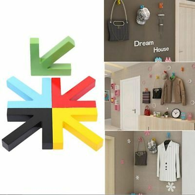 Decorate Colorful Mounted Hook Arrow Wood Hat Wall Clothes Rack Door Coat