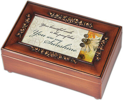 You are My Sunshine Walnut Finish with Brushed Gold Rose Trim Petite Music Box
