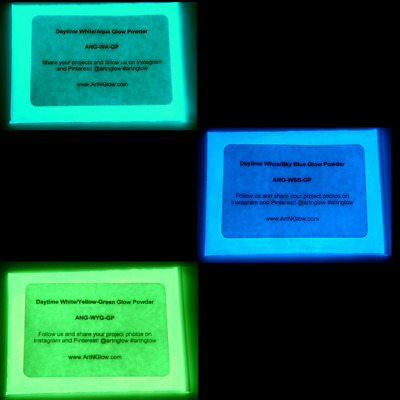 Glow In The Dark Pigment Powder, 3 Glow Powder Colors Available, 12 Grams