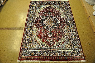 Indian Kashmir Silk New Hand Knotted Rug 6 X 9 Velvet Red
