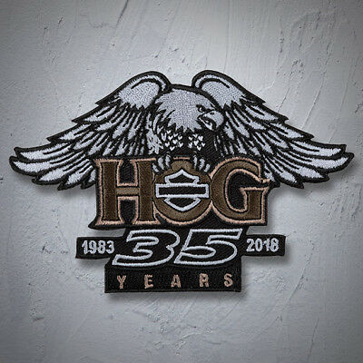 "Genuine HARLEY DAVIDSON 5 inch ""Eagle & Wings"" 35th ANNI HOG COLORED PATCH"