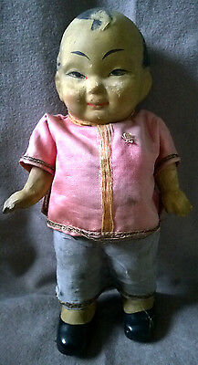 Antique Toy Cinese Doll Asian Oriental Ceramic SILK Dress Hand Painted Face