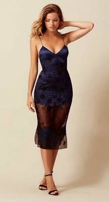 AGENT PROVOCATEUR SOIREE Anissa Silk and Lace Slip Navy/Black Size AP 3 BNWT