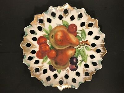 German Collactable Antique Olate With Fruit Painting And Good Decorative Trim