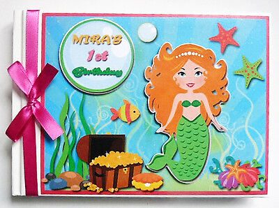 Personalised Marmaid Girls  First/1St Birthday Guest Book - Any Design