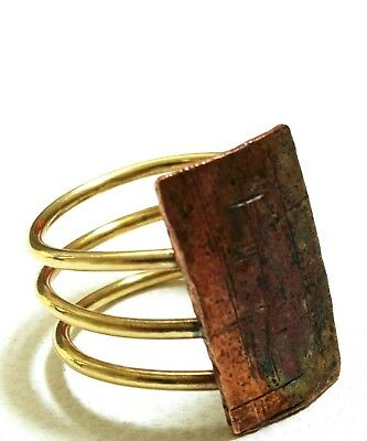 Double Coil Brass And Copper Ring Handmade US 6.75 Jewellery Mixed Metal