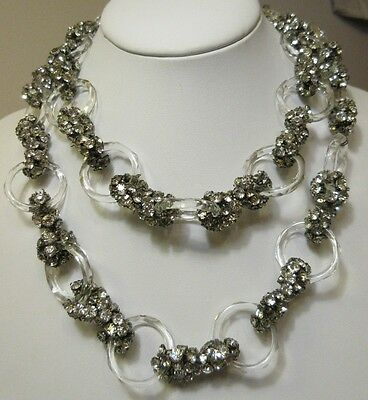 """Vintage 1930's Rhinestone Glass Crystal Necklace Faceted Circle Links French 38"""""""