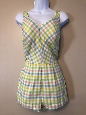 Vintage JCPenney One Piece Swimsuit Romper Shorts Halter Pastel Plaid