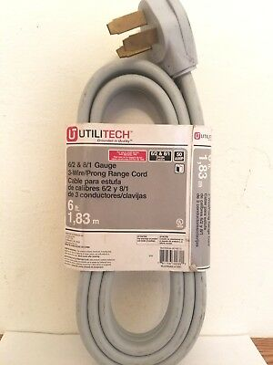 UTILITECH 3 WIRE Prong Dryer Cord 6 FT - 10 Gauge 30 Amp NEW