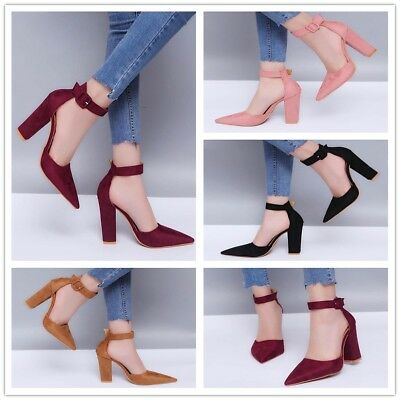 Womens Strappy Block High Heels Party Sandals Ankle Strap Cuff Pointed Toe Shoes