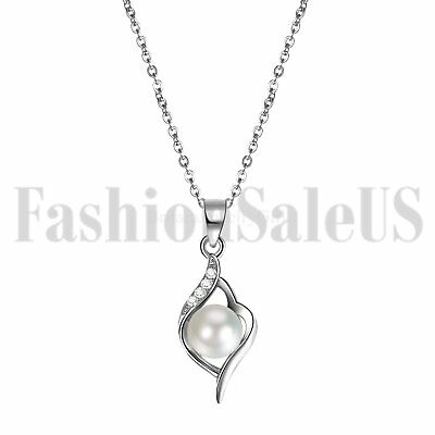 Ladies Girl Silver Chain Genuine White Freshwater Pearl Pendant Necklace Jewelry