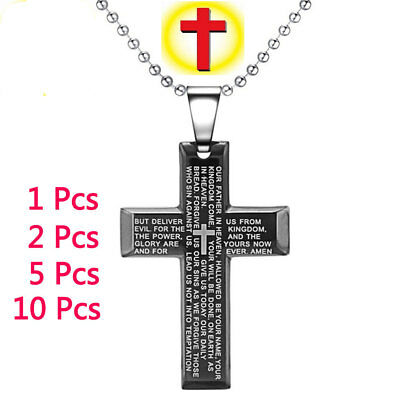 Mens Womens Stainless Steel Bible Cross Pendant Necklace Lord's Prayer Bible