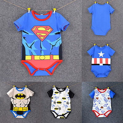 Newborn Baby Boy Girl Romper Superhero Marvel Bodysuit Cartoon Outfit Jumpsuit