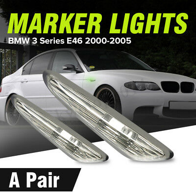 Pair Smoked Turn Indicator Side Marker Lights For BMW E46 E60 E61 E83