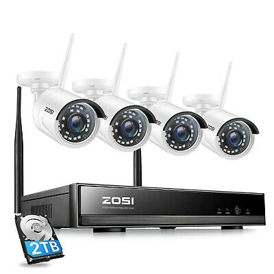 ZOSI Wireless Security IP Camera System 1080p 2TB 8 Channel WIFI NVR 2MP Outdoor
