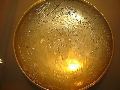 Vintage Chinese Solid Brass Bowl with Dragon Etchings
