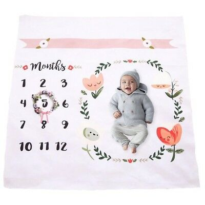 Baby Monthly Milestone Blanket | Cotton Swaddle Throw For Infant & Babies 0-3...