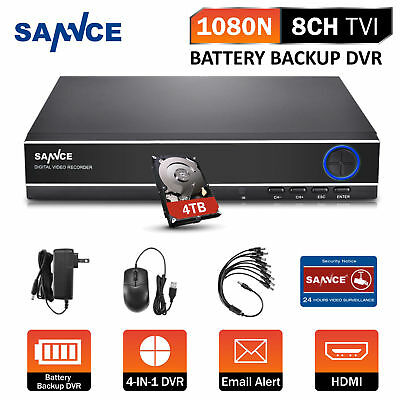 SANNCE 8CH 1080N 4IN1 Battery Back-up CCTV Security DVR Home Surveillance 4TB HD
