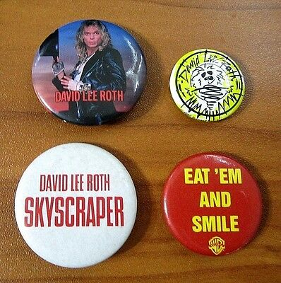 David Lee Roth Lot of 4 Promo Buttons 1985 1986 & 1988 Eat Smile WB Skyscraper