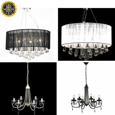 Modern Elegant Crystal Chandelier 3 6 Pendant Light Lamp Ceiling Fixture 4-Model
