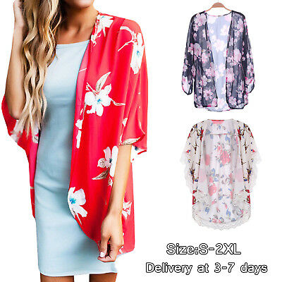Womens Cardigan Floral Short Sleeve Hip Length Summer Thin Casual Open Front US