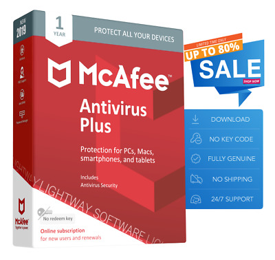 McAfee Antivirus Plus 2020 - Unlimited devices, 1 Years (New or Renewal)