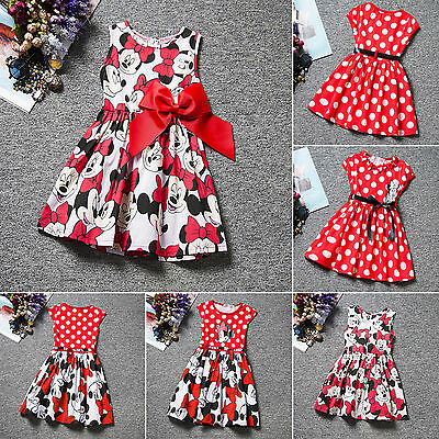 Kids Girls Cartoon Minnie Mouse Party Dress Sleeveless Vest Skirts Clothes Tops