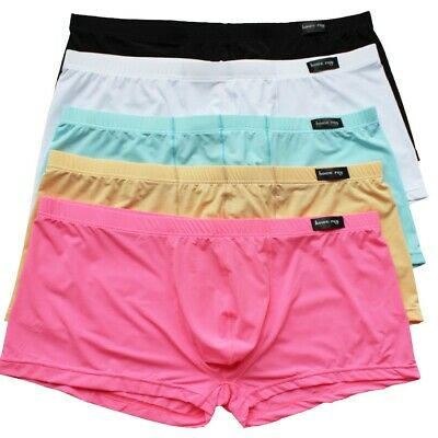Mens Smooth Bulge Pouch Boxer Briefs Shorts Sheer Underwear Underpants Trunks