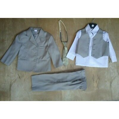5 piece Shirt Vest Tie Pants Jacket Khaki Boys Dress Suit 3T