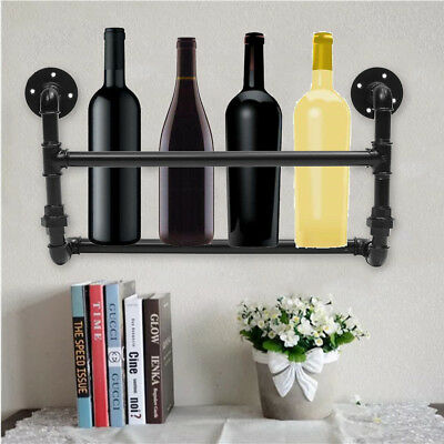 5 Bottles Industrial Iron Pipe Wine Rack Shelf Holder Wall Mount 3/4'' 53cm AU