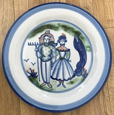 M A HADLEY Vintage Country Scene Blue Farmer & Wife Round Platter Chop Plate