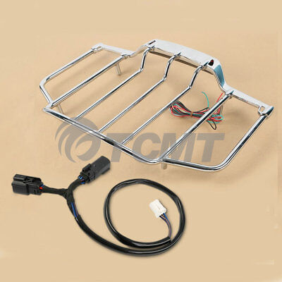 Air Wing Tour Pak LED Lighted Luggage Rack For Harley Davidson Touring 2014-2018